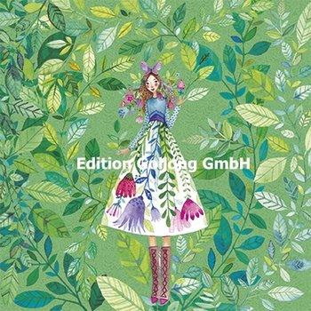 Mila Marquis Postkarte | Mädchen mit Blumen und Blätter