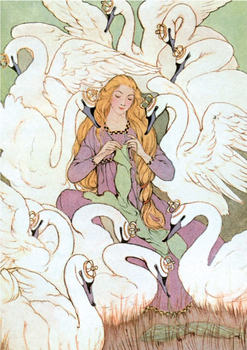 Postcard | The Wild Swans, Grimm's Fairy Tales, 1920