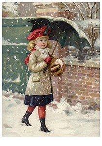 Victorian Postcard | A.N.B. - Meisje loopt door de sneeuw