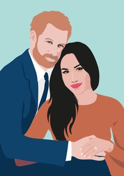 Pop Art Postcard | Prince Harry and Meghan