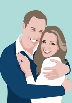 Pop Art Postcard | Prince William and Kate