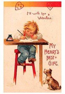 Victorian Valentine Postcard | A.N.B. - I'll write her a valentine