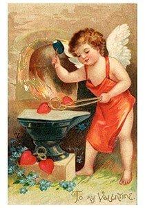 Victorian Valentine Postcard | A.N.B. - Engel maakt hartjes