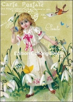 Carola Pabst Postcard | Girl with snowdrops