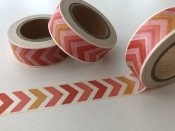Washi Masking Tape | Orange/Red Chevron