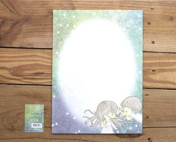 A4 Formaat Gedecoreerd Papier Amy and Tim | Groen gras en witte bloemen