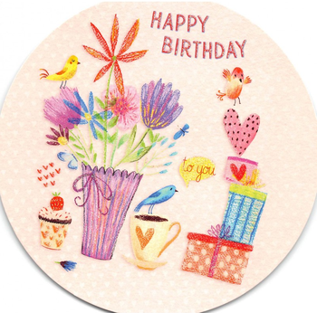 Round Postcard Edition Tausendschoen | Happy Birthday