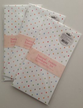 Natural Pattern Envelopes (Tiny Hearts on White)