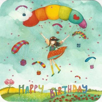 Mila Square Postcard   Happy Birthday