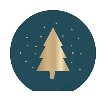 10x X-mas Stickers - Petrol Gold - Christmas Tree