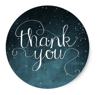 Thank You Circle Sealing Stamp Stickers | Starry Night Sky Calligraphy