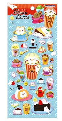 Kamio Puffy Seal Sticker | Bear Latte