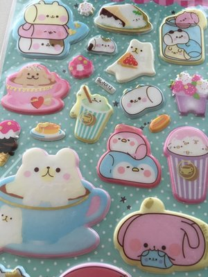 Fantasyland Puffy Epoxy Stickers | Kawaii Marshmallow Animals