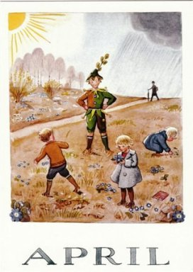 Elsa Beskow Postcard | April