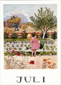 Elsa Beskow Postcard | July