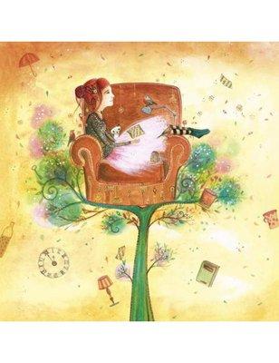 Jehanne WEYMAN Square Art Postcard | Head in the clouds