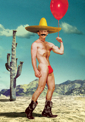 Mexican Cowboy with Balloon Individual Postcard by Max Hernn