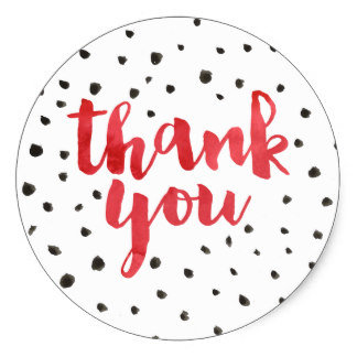 Thank You Circle Sealing Stamp Stickers | Dots Red Watercolor