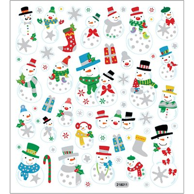 Seal Sticker with Glitter Foil | Snowmen