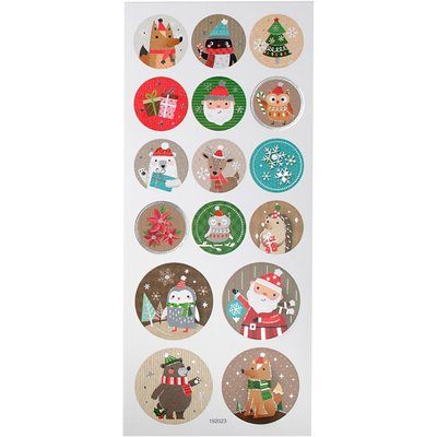 Round Seal Sticker with Glitter Foil | Christmas