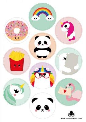 A5 Round Stickersheet | Mix Panda Unicorn Donut