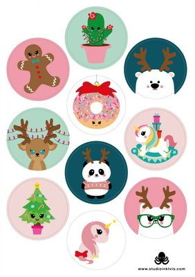 A5 Round Stickersheet | Christmas