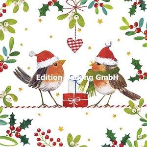Carola Pabst Postcard Christmas | Two Robins