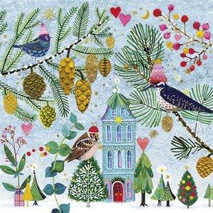 Mila Marquis Postcard Christmas   Birds in winter