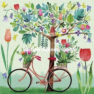 Mila Marquis Postcard | Bicycle and spring blossoms