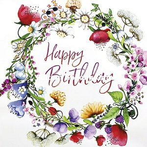 Sabina Comizzi Postcard | Happy birthday (summer wreath)