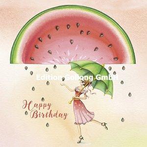 Nina Chen Postcard | Happy Birthday (Woman with umbrella)