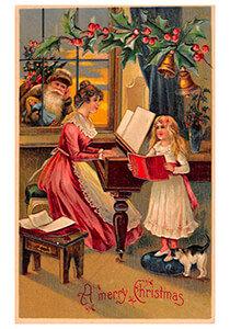 Postcard | Kerstman kijkt hoe moeder en kind muziek maken