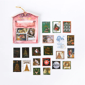 Vintage Sticker Flakes Sack | Christmas Stanps