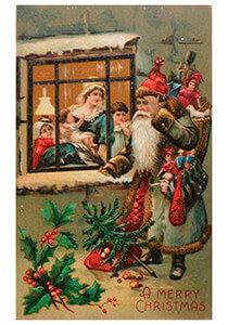 Postcard | Kerstman met cadeaus voor een huis