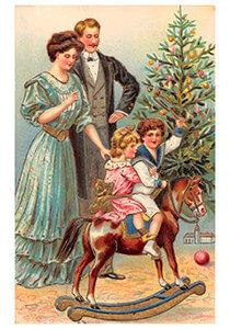 Postcard | Gezin viert kerst voor de kerstboom