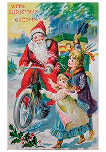Postcard | Kerstman op fiets met cadeaus