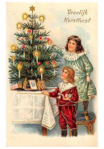 Postcard | Twee meisjes voor de kerstboom (Vroolijk Kerstfeest)