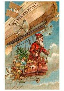 Postcard | Kerstman vliegt door de lucht met cadeaus