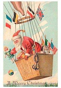 Postcard   Kerstman met cadeaus in een luchtballon