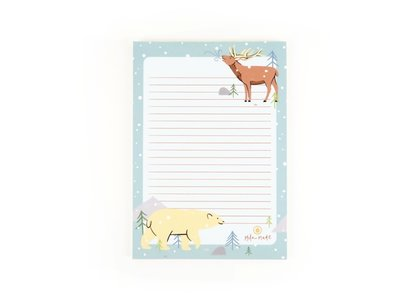 A5 Winter Animals Letterpad - Notepad by Mila Made