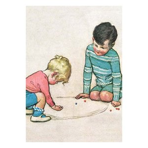 Postcard | Playing Marbles