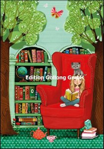 Mila Marquis Double Card | Girl reading with cat
