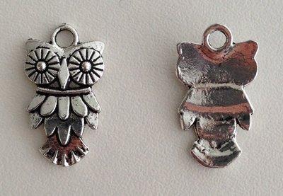 Tibetan Silver Tone Animals Charms Pendants - Owl Nighthawk Bird of Minerva