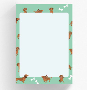 A5 Letter Paper Pad crissXcross | Dachshund (Green)