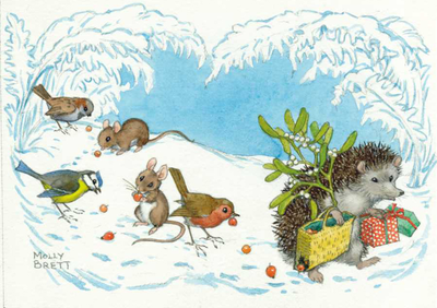 Postcard Molly Brett | Hedgehog carrying mistletoe and presents