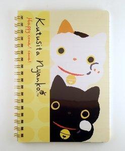 San-X Kutusita Nyanko Spiral Ring Binder Notebook | Lucky Cat