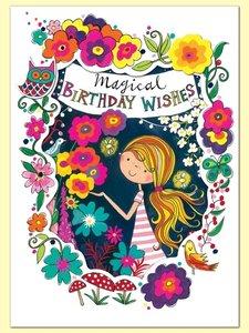 Rachel Ellen Designs Postcards - Wonderland - Magical Birthday Wishes - Midnight Garden
