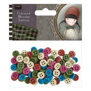 Gorjuss Coloured Wooden Buttons (100pcs) - Santoro Tweed