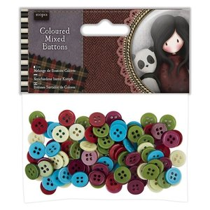 Gorjuss Coloured Mixed Buttons (100pcs) - Santoro Tweed