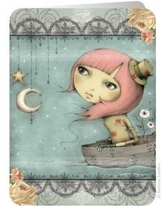 Santoro Eclectic Collection Double Postcard | Adrift